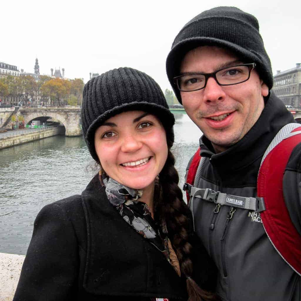 Taylor and Scott Woodworth sell at the Seine River in Paris, France