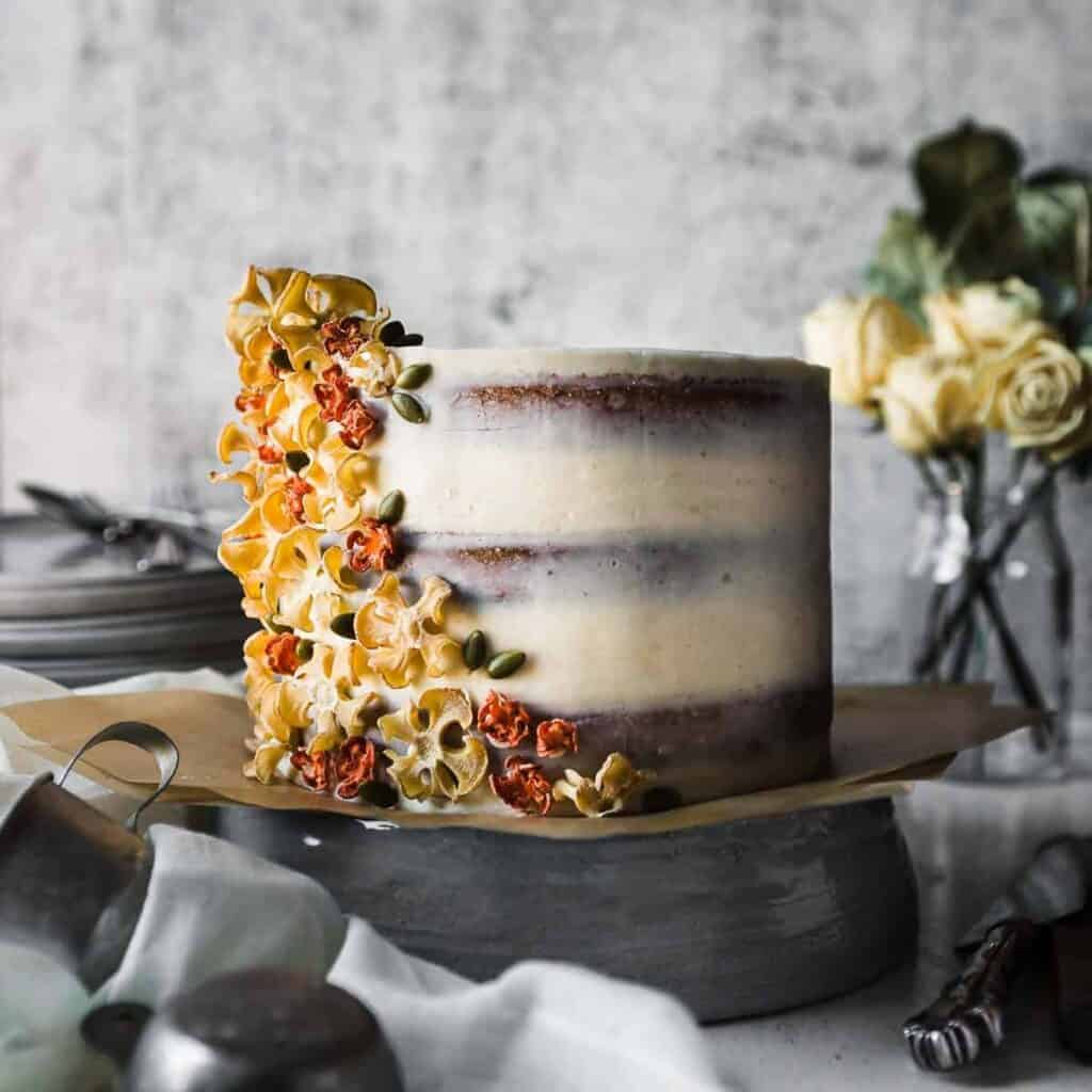 Carrot Spiced cake decorated with Carrot flowers