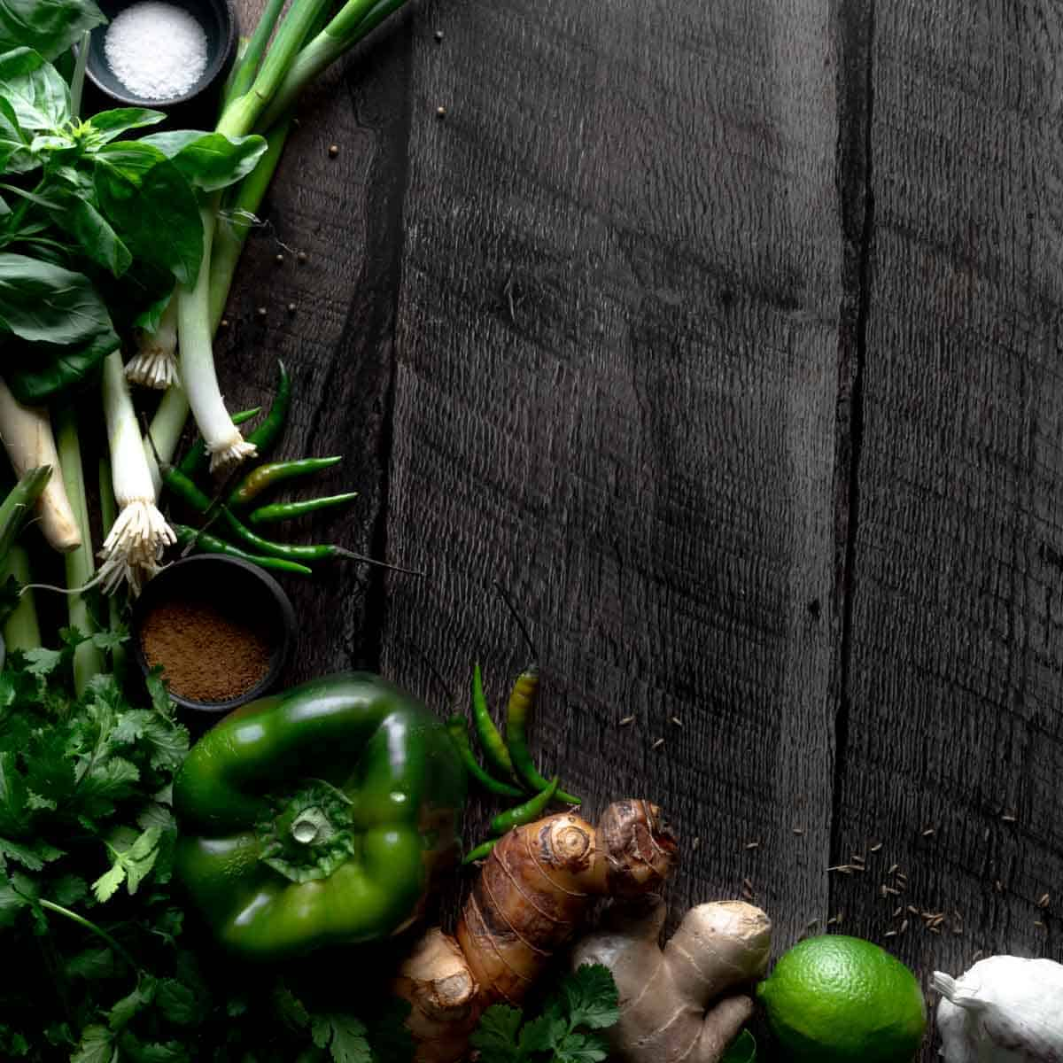 All of the ingredients need to make Thai Green Curry Paste at home