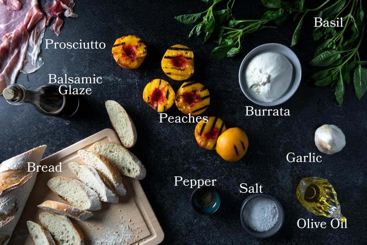 Image of ingredients needed for this recipe: peaches, prosciutto, bread, pepper, salt, garlic, olive oil, basil and balsamic reduction